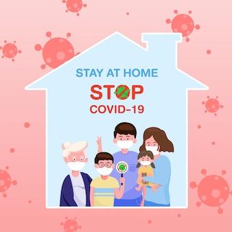 Rodzina nosząca ochronną maskę medyczną w płaskiej formie zostaje w domu i jest bezpieczna dla ochrony koronawirusa. koncepcja wybuchu i ataku pandemicznego covid-19.