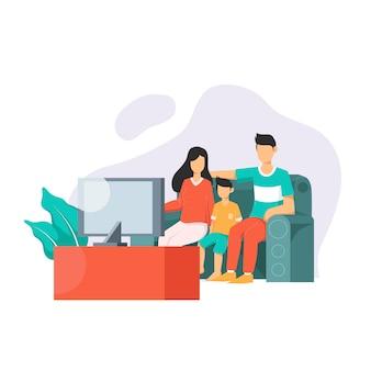 Rodzina ogląda telewizję w salonie