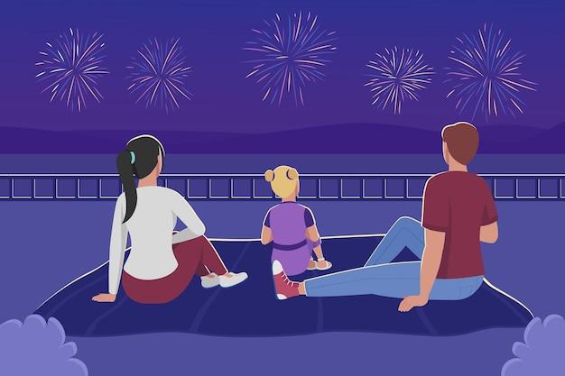 Rodzina oglądania fajerwerków płaski kolor ilustracji wektorowych. matka, ojciec i dziecko siedzą na kocu. piknik latem. rodzice z dziecięcymi postaciami z kreskówek 2d z nocnym krajobrazem na tle
