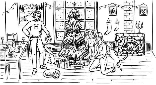 Rodzina ozdabia choinkę na boże narodzenie. mama tata pies kot i dzieci w oknie z