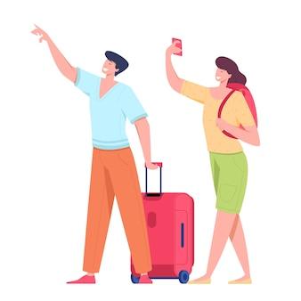 Rodzina para turystów podróżujących z plecakami, torbami i walizkami. ilustracja letniego turystycznego charakteru kobiety i mężczyzny