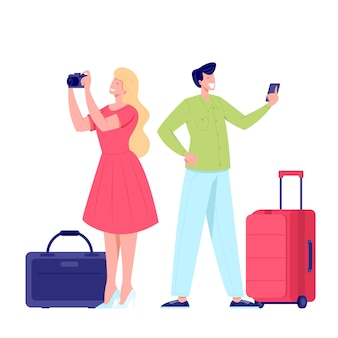 Rodzina para turystów podróżujących z plecakami, torbami, walizkami. i aparat. ilustracja letniego turystycznego charakteru kobiety i mężczyzny