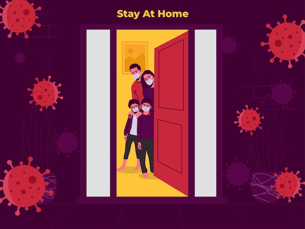 Rodzina pobytu w domu ilustracja