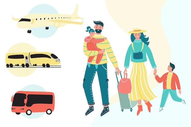 Rodzina podróżująca razem z bagażem i samolotem, pociągiem i autobusem w tle.