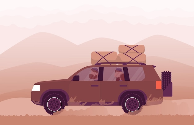 Rodzina podróżuje samochodem do natury koncepcja stylu życia aktywność na świeżym powietrzu kolor kreskówka płaski wektor