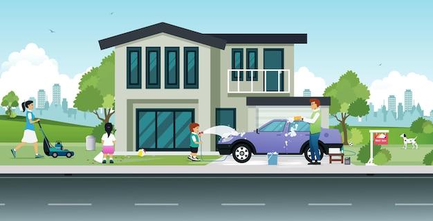 Rodzina pomaga w sprzątaniu domu i myjni samochodowej.