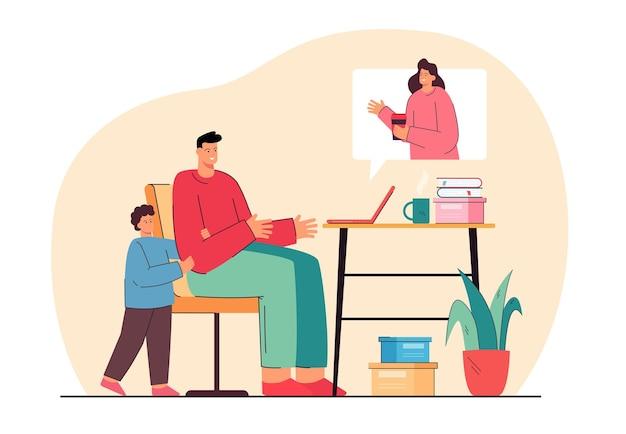 Rodzina prowadząca rozmowę wideo podczas pandemii. płaska ilustracja