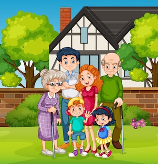 Rodzina przed podwórzem domu