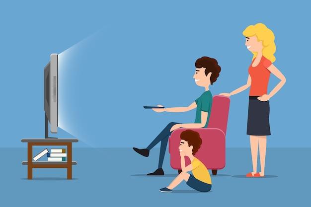 Rodzina przed telewizorem. kobieta mężczyzna dziecko i ekran. płaskie ilustracji wektorowych