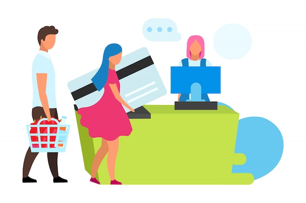 Rodzina przy kas biurka ilustracją. para i kasjer w sklepach spożywczych postaci z kreskówek. żona i mąż robią zakupy. płatność bezgotówkowa. konsumenci w supermarketach kupują towary