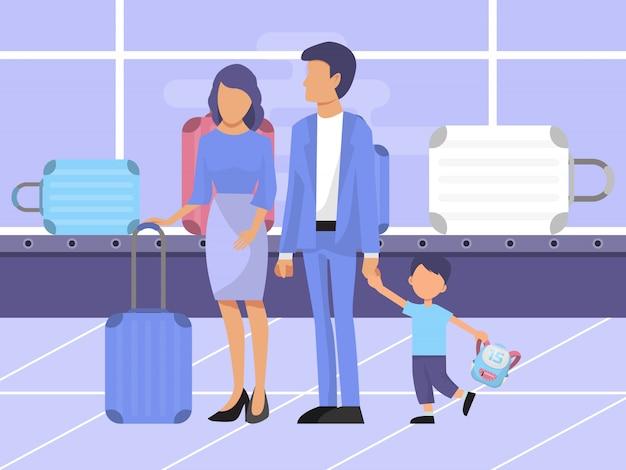 Rodzina przy roszczenia bagażowego terenu ilustracją.