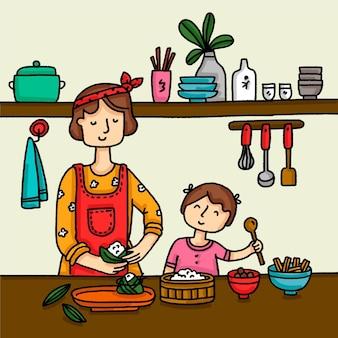 Rodzina przygotowuje zongzi ręcznie rysowane stylu