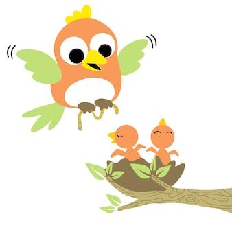 Rodzina ptak wektor kreskówka
