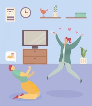 Rodzina radośnie ciąża nowa, żona skoku trzymać test ciążowy pozytywne emocje, mąż klęczy ilustracja. wnętrze przytulny pokój.