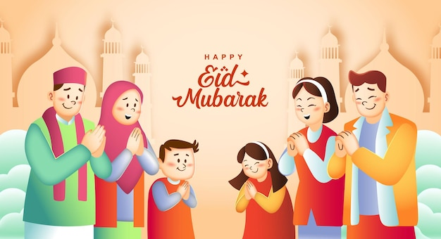 Rodzina ramadan i happy eid mubarak