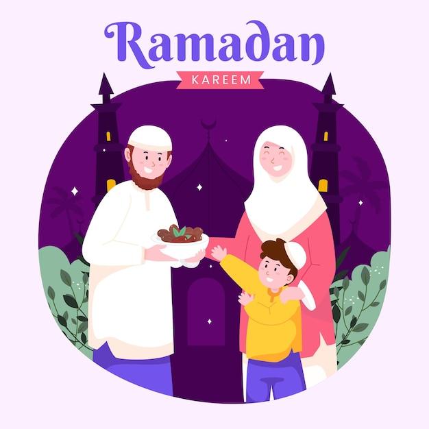 Rodzina ramadan kareem mubarak z synem uczącym za dawanie jedzenia lub prezentów biednym ludziom,