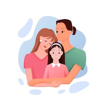 Rodzina rasy mieszanej. kreskówka wielonarodowa, wielorasowa homoseksualna para leizbijska z córką