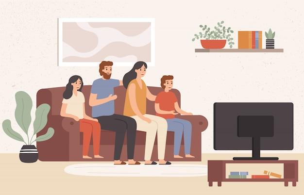 Rodzina razem ogląda telewizję. szczęśliwi ludzie oglądają tv w żywym pokoju, młoda rodzinna ogląda film ilustracja w domu