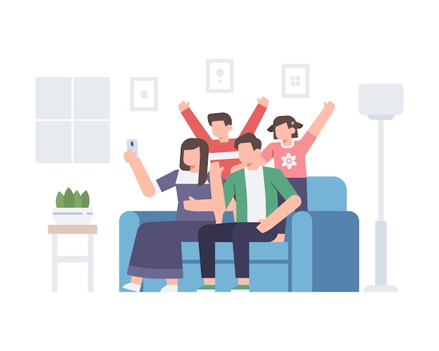 Rodzina robi selfie razem w domu