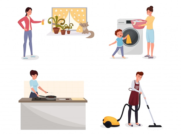 Rodzina robi sprzątanie mieszkania zestaw.