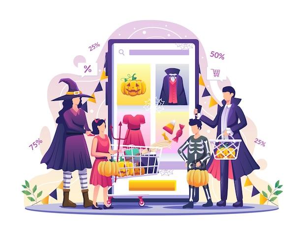 Rodzina robi zakupy online, aby uczcić halloweenowe wydarzenie płaska ilustracja wektorowa