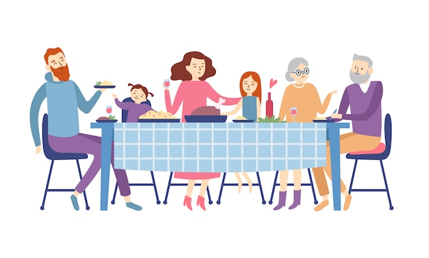 Rodzina siedzi przy stole jadalnym. ludzie jedzą świąteczne jedzenie, wakacje rozmawiać i zjazd rodzinny obiad