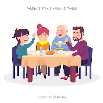 Rodzina Siedzi Przy Stole Premium Wektorów
