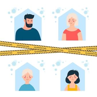 Rodzina siedzi w domu. kwarantanna lub samoizolacja. pojęcie opieki zdrowotnej. ostrzeżenie przed koronawirusem poddaje kwarantannie żółte i czarne paski.