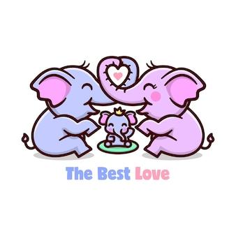 Rodzina ślicznych słoni dzieli się miłością. szczęśliwego dnia walentynki