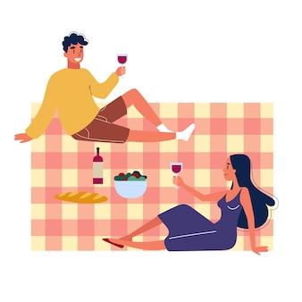 Rodzina spędza czas na świeżym powietrzu na pikniku. letni kemping.