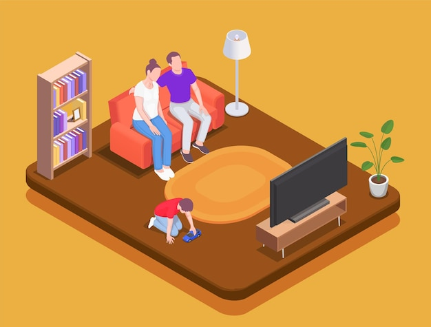 Rodzina spędzająca czas w domu izometryczna ilustracja