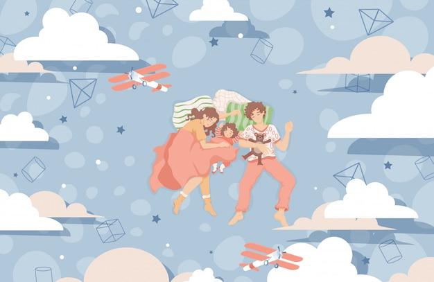 Rodzina śpi razem na łóżku i marzy płaską ilustrację. szczęśliwa rodzina spędza razem czas.