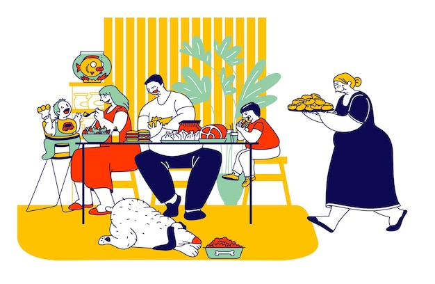 Rodzina spożywająca niezdrowe jedzenie z wysoką zawartością tłuszczu i węglowodanów. płaskie ilustracja kreskówka