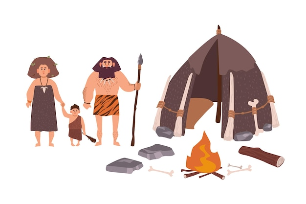 Rodzina starożytnych ludzi, jaskiniowców, prymitywnych ludzi lub archaicznego człowieka. matka, ojciec i syn stoją przy swoim mieszkaniu i ognisku. postaci z kreskówek z epoki kamienia. płaska kolorowa ilustracja wektorowa