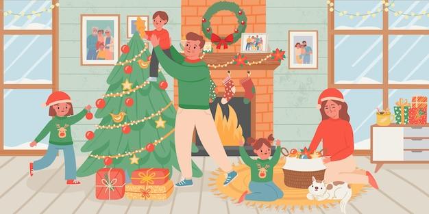 Rodzina świętuje boże narodzenie w domu. rodzice i dzieci dekorują choinkę we wnętrzu salonu z kominkiem. nowy rok wektor plakat. wesołych świąt w domu, ilustracja obchodów nowego roku