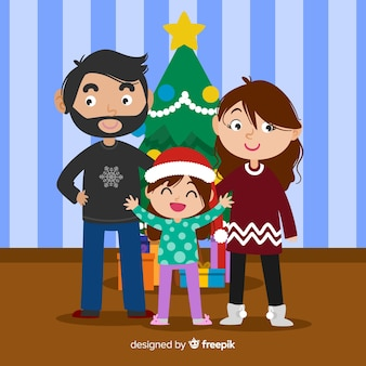 Rodzina świętuje boże narodzenie