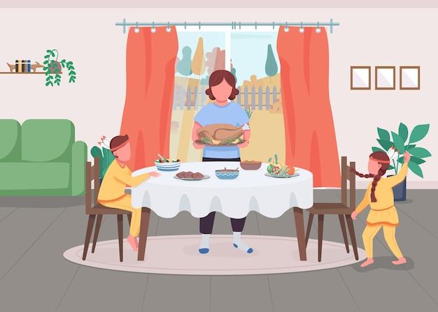 Rodzina świętuje święto dziękczynienia płaski kolor ilustracji