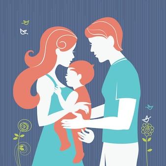 Rodzina. sylwetka rodziców z córeczką