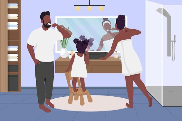 Rodzina szczotkuje zęby na płasko. poranna, wieczorna rutyna. naucz higieny.