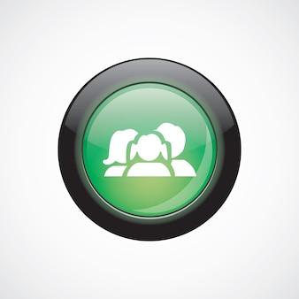 Rodzina szkło znak ikona zielony przycisk błyszczący. przycisk strony interfejsu użytkownika
