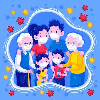 Rodzina trzymająca się z dala od wirusa