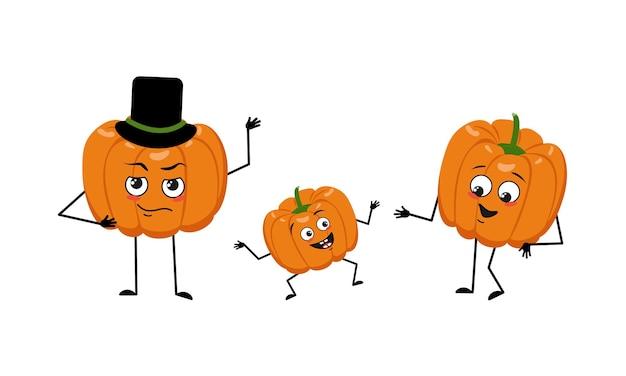 Rodzina uroczych postaci z dyni ze szczęśliwymi emocjami. mama, tata i dziecko tańczą. wesoły warzywo na święta halloween. świąteczna jesienna dekoracja na październik