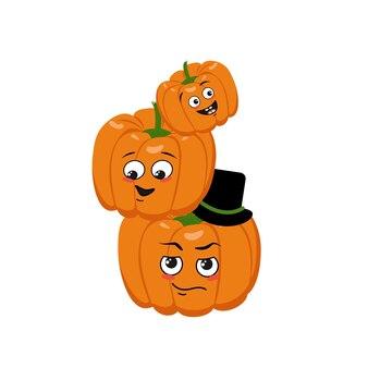 Rodzina uroczych postaci z dyni ze szczęśliwymi emocjami. twarz mamy, taty i dziecka. wesoły warzywo na święta halloween. świąteczna jesienna dekoracja na październik