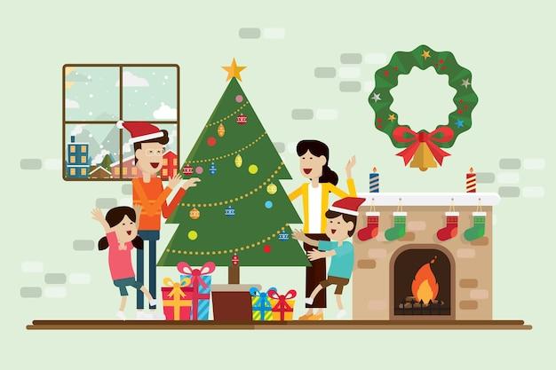 Rodzina w boże narodzenie i dekoracja w pokoju z kominkiem