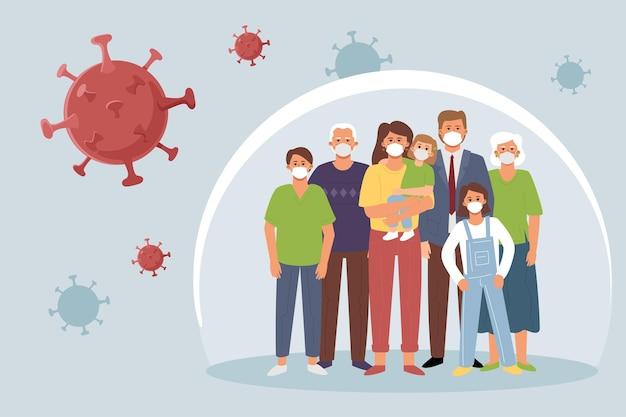 Rodzina w medycznych maskach stoi w bańce, wokół której rozprzestrzenia się wirus. pojęcie odporności zbiorowej i ochrony przed koroną.