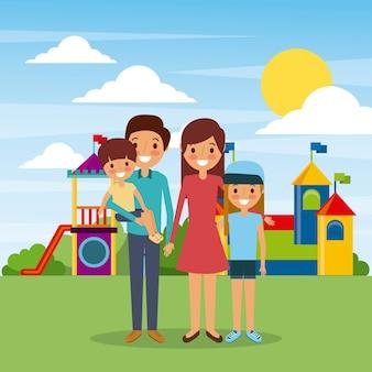 Rodzina w plac zabaw dla dzieci rodzice i dzieci wesoły