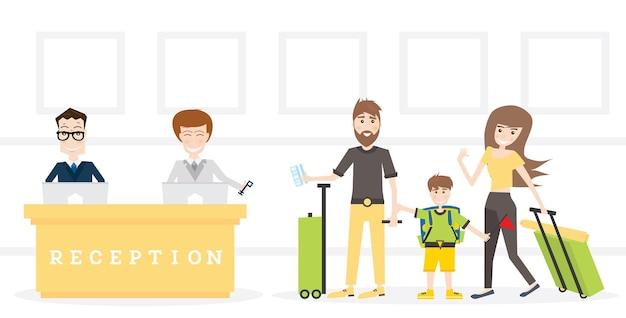 Rodzina w recepcji w hotelu pobierz klucz z pokoju. ilustracja wektorowa.