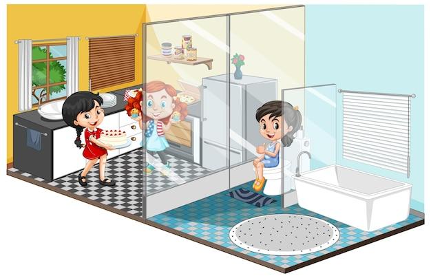 Rodzina w różnych pokojach na białym tle