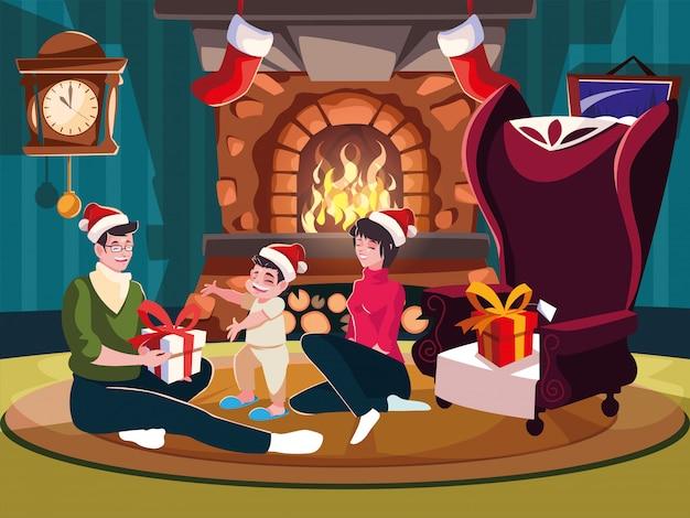 Rodzina w salonie z dekoracją świąteczną, scena wieczór bożonarodzeniowy
