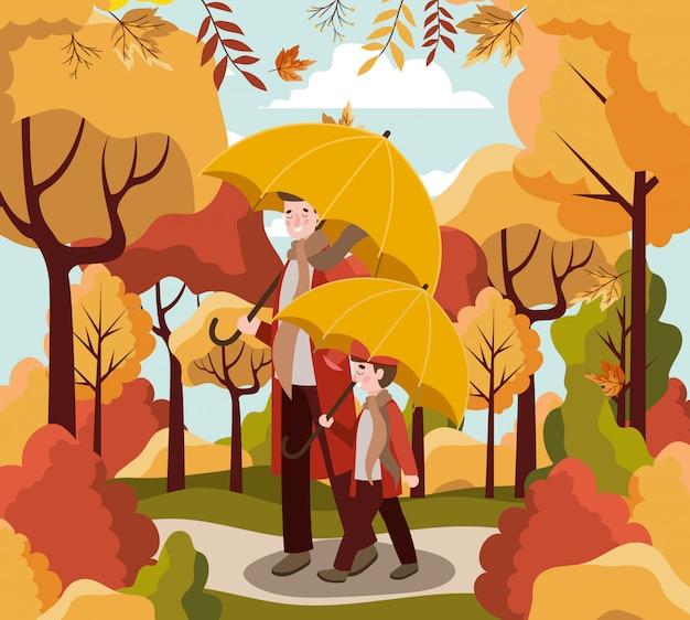 Rodzina w tle jesieni